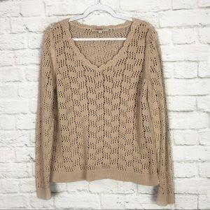 LOFT Ann Taylor Cream Open Knit ScoopNeck Sweater